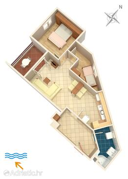 Podstrana, Plan in the apartment.