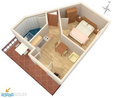 Vodice, Půdorys v ubytování typu apartment, WiFi.