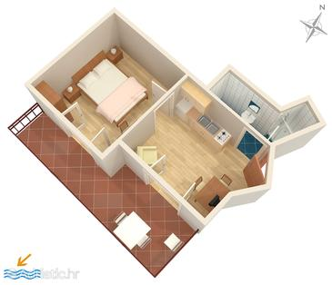 Vodice, План в размещении типа apartment, WiFi.