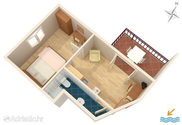 Vodice, Načrt v nastanitvi vrste apartment, WiFi.