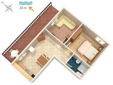Okrug Donji, Pôdorys v ubytovacej jednotke apartment, domáci miláčikovia povolení a WiFi.