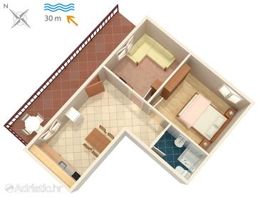 Okrug Donji, Plan in the apartment, dopusteni kucni ljubimci i WIFI.