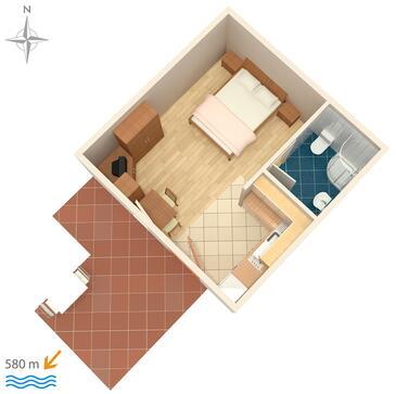 Novigrad, Plan kwatery w zakwaterowaniu typu studio-apartment.