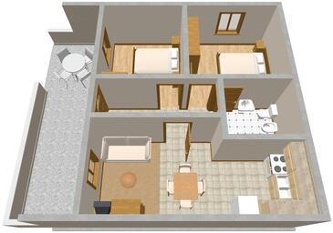Sumartin, Pôdorys v ubytovacej jednotke apartment.