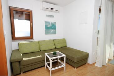 Mošćenice, Pokój dzienny w zakwaterowaniu typu apartment, Dostępna klimatyzacja, zwierzęta domowe są dozwolone i WiFi.