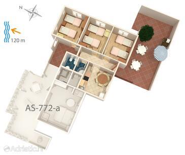 Maslinica, Plan in the apartment, dopusteni kucni ljubimci i WIFI.