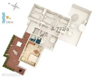 Maslinica, Plan in the studio-apartment, dopusteni kucni ljubimci i WIFI.