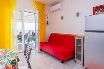 Medveja, Living room in the apartment, dostupna klima i WIFI.
