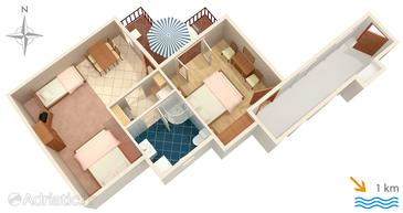 Lovran, Plan in the apartment, dopusteni kucni ljubimci i WIFI.