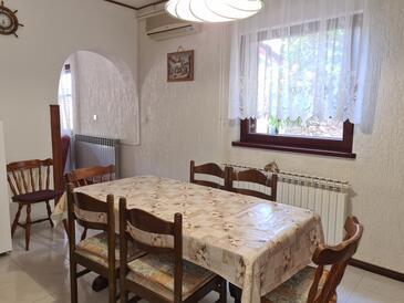 Mošćenička Draga, Jedáleň v ubytovacej jednotke apartment, klimatizácia k dispozícii, domáci miláčikovia povolení a WiFi.