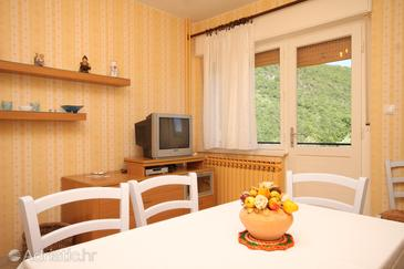 Mošćenička Draga, Jídelna v ubytování typu apartment, domácí mazlíčci povoleni a WiFi.