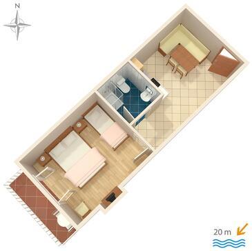 Stomorska, Plan kwatery w zakwaterowaniu typu apartment, dopusteni kucni ljubimci i WIFI.