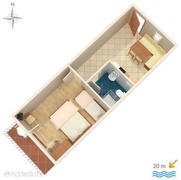 Stomorska, Plan in the apartment, dopusteni kucni ljubimci i WIFI.