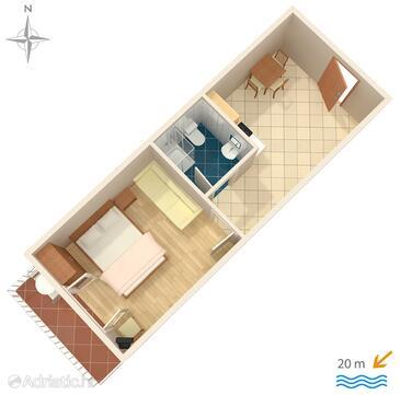 Stomorska, Půdorys v ubytování typu apartment, domácí mazlíčci povoleni.