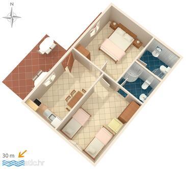 Stomorska, Půdorys v ubytování typu apartment, domácí mazlíčci povoleni a WiFi.