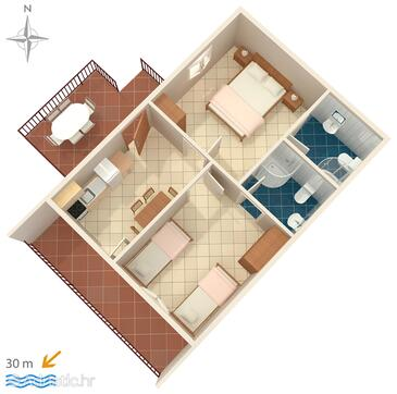 Stomorska, Plan in the apartment, (pet friendly) and WiFi.