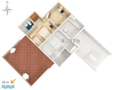 Stomorska, Plan kwatery w zakwaterowaniu typu apartment, dopusteni kucni ljubimci.