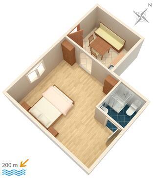 Marušići, Plan kwatery w zakwaterowaniu typu studio-apartment, WIFI.