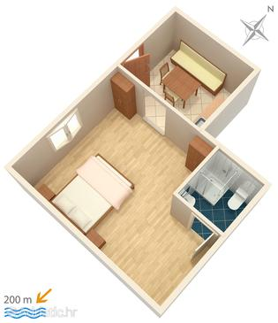 Marušići, Plan in the studio-apartment, WIFI.