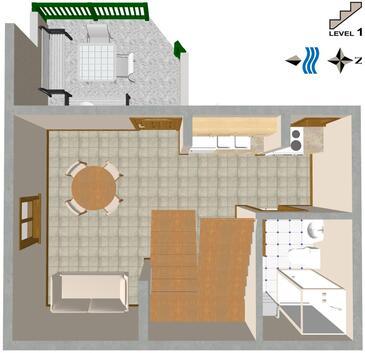 Brela, Plan kwatery w zakwaterowaniu typu house, zwierzęta domowe są dozwolone i WiFi.