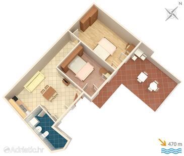 Opatija, Půdorys v ubytování typu apartment, domácí mazlíčci povoleni a WiFi.