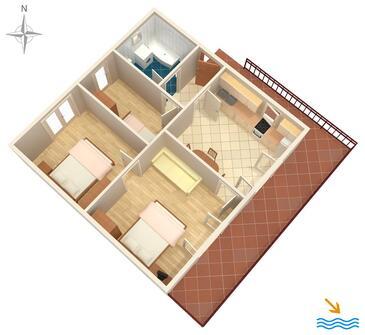 Opatija, Pôdorys v ubytovacej jednotke apartment, dopusteni kucni ljubimci i WIFI.