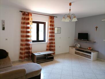 Mali Lošinj, Living room in the apartment, dostupna klima, dopusteni kucni ljubimci i WIFI.