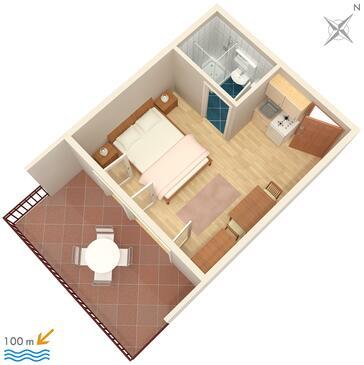 Jezera, Půdorys v ubytování typu studio-apartment, domácí mazlíčci povoleni a WiFi.