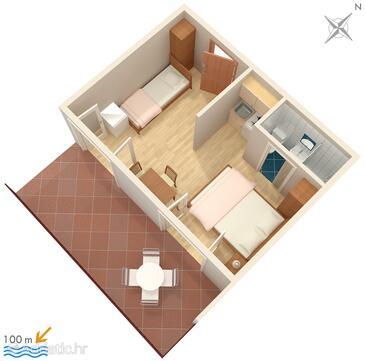 Jezera, Plan in the studio-apartment, (pet friendly) and WiFi.