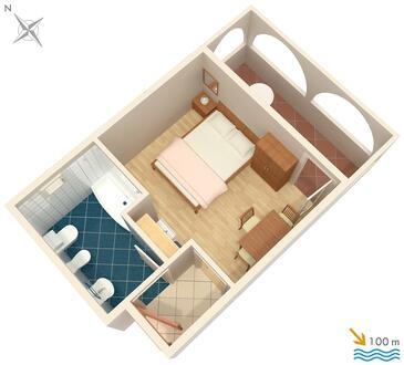 Jezera, Plan kwatery w zakwaterowaniu typu studio-apartment, zwierzęta domowe są dozwolone i WiFi.