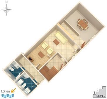 Stivan, Půdorys v ubytování typu house, domácí mazlíčci povoleni.