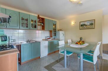 Nerezine, Blagovaonica u smještaju tipa apartment, dostupna klima, kućni ljubimci dozvoljeni i WiFi.