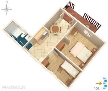 Susak, План в размещении типа apartment, WiFi.