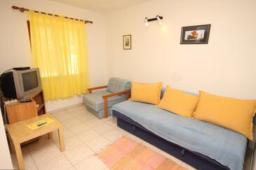 Miholašćica, Living room in the apartment, dostupna klima i dopusteni kucni ljubimci.