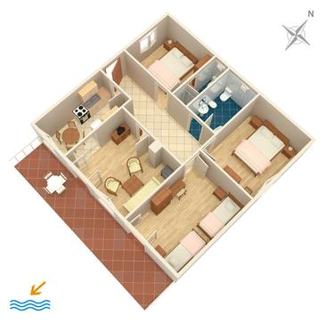 Tisno, Plan in the apartment, dopusteni kucni ljubimci i WIFI.