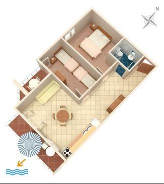 Tisno, Plan kwatery w zakwaterowaniu typu apartment, dopusteni kucni ljubimci i WIFI.