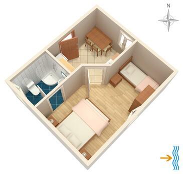 Beli, Půdorys v ubytování typu apartment, domácí mazlíčci povoleni a WiFi.