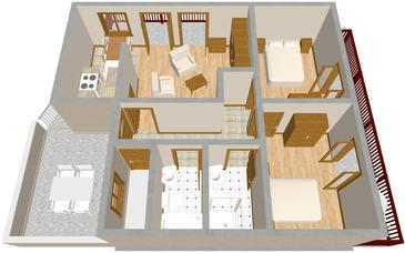 Tisno, Plan kwatery w zakwaterowaniu typu apartment, zwierzęta domowe są dozwolone i WiFi.