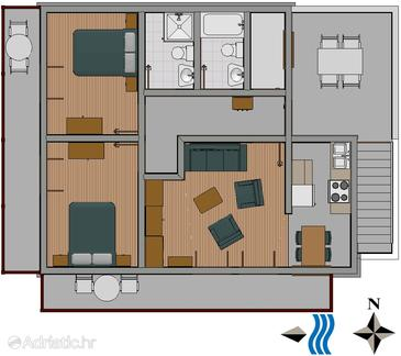 Tisno two bedroom apartment near beach a 810 a for Apartment wifi plans