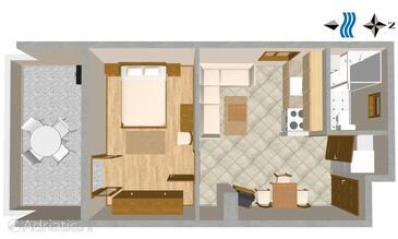 Tisno, План в размещении типа apartment, Домашние животные допускаются и WiFi.