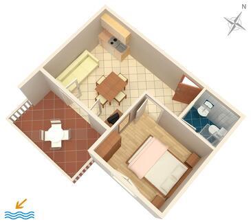 Zaglav, Půdorys v ubytování typu apartment, domácí mazlíčci povoleni a WiFi.