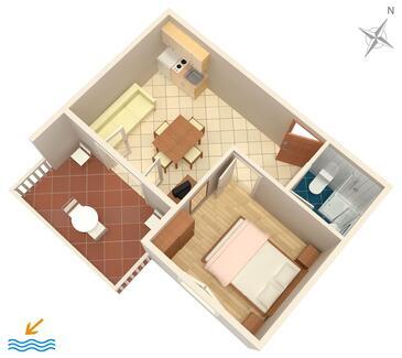 Zaglav, Půdorys v ubytování typu apartment, WiFi.