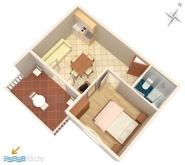 Zaglav, Plan in the apartment, dopusteni kucni ljubimci i WIFI.
