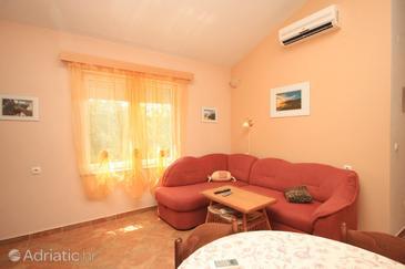 Brbinj, Living room in the apartment, dostupna klima, dopusteni kucni ljubimci i WIFI.