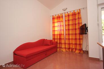 Pašman, Living room in the apartment, dostupna klima i dopusteni kucni ljubimci.