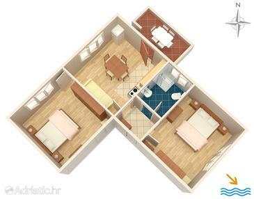 Ugljan, Půdorys v ubytování typu apartment.