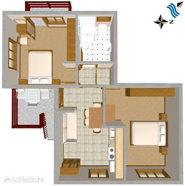 Ugljan, Plan in the apartment, dopusteni kucni ljubimci i WIFI.