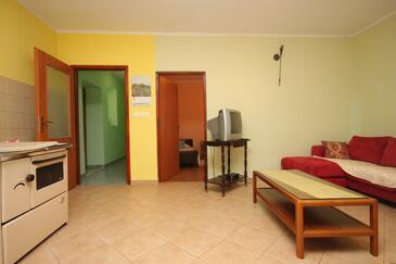 Ždrelac, Living room in the apartment, dopusteni kucni ljubimci i WIFI.