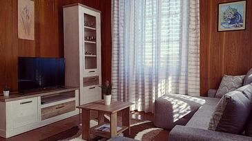 Lastovo, Obývacia izba v ubytovacej jednotke apartment, dostupna klima, dopusteni kucni ljubimci i WIFI.