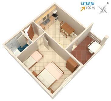Kali, Půdorys v ubytování typu apartment, domácí mazlíčci povoleni a WiFi.